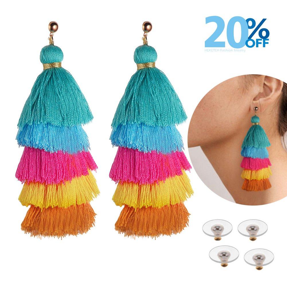 HEKETEH Tassel Earrings Bohemian earrings Drop Dangle Earrings for women (Blue 5Colors Tassel Earrings)