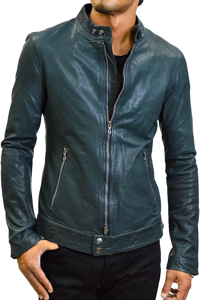 (ハルフレザー)Haruf Leather us143blu メンズ レザージャケット ライダースジャケット シングルライダース ゴートレザー ブルー 本革 B01JLGM560 M