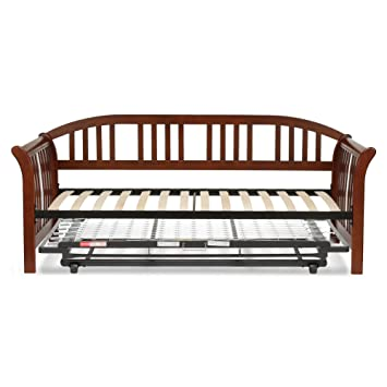 salem complete wood daybed with euro top deck and trundle bed popup frame