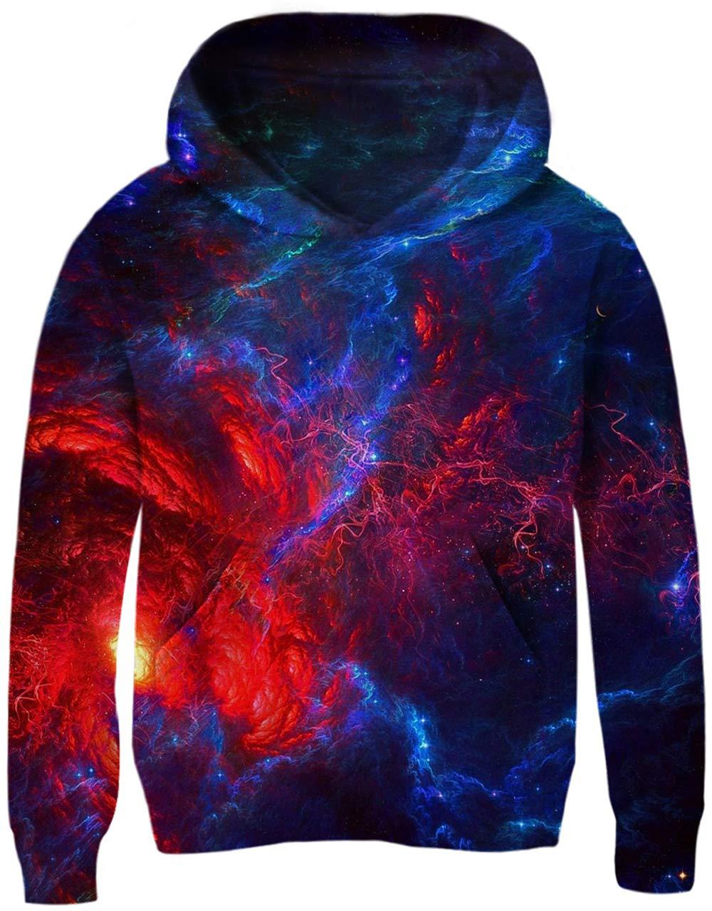 UNICOMIDEA 6-7 Years Hoodies Boys' Sweaters Colorful Purple Starry Sky 3D Printed Pullover Cool Blue Sweatshirts Tie Dye Hoodies with Big Pocket L