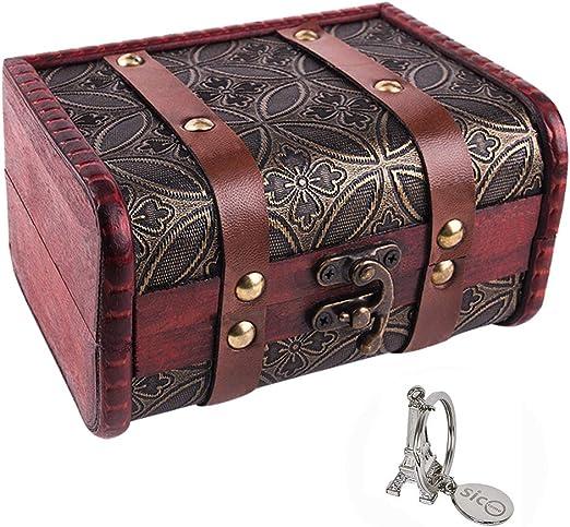 Small Vintage Jewelry Box Home Decor Wooden Treasure Chest Decorative Gift Case