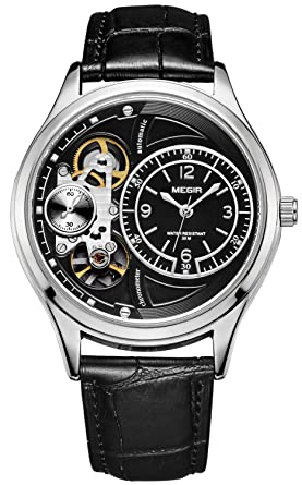 PASOY Mens Automatic Watch 2 Movement Skeleton Dial Black Leather Band Silver Waterproof Sport Watches