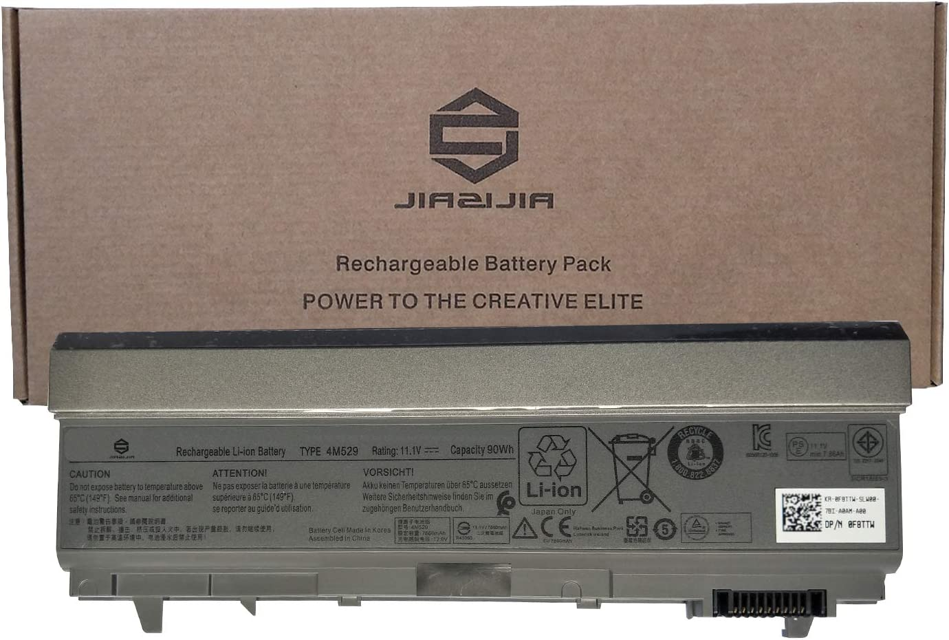 JIAZIJIA 4M529 Laptop Battery Replacement for Dell Latitude E6400 E6410 E6500 E6510 Precision M2400 M4400 M4500 M6500 Series Notebook 0F8TTW F8TTW Black 11.1V 90Wh 7850mAh