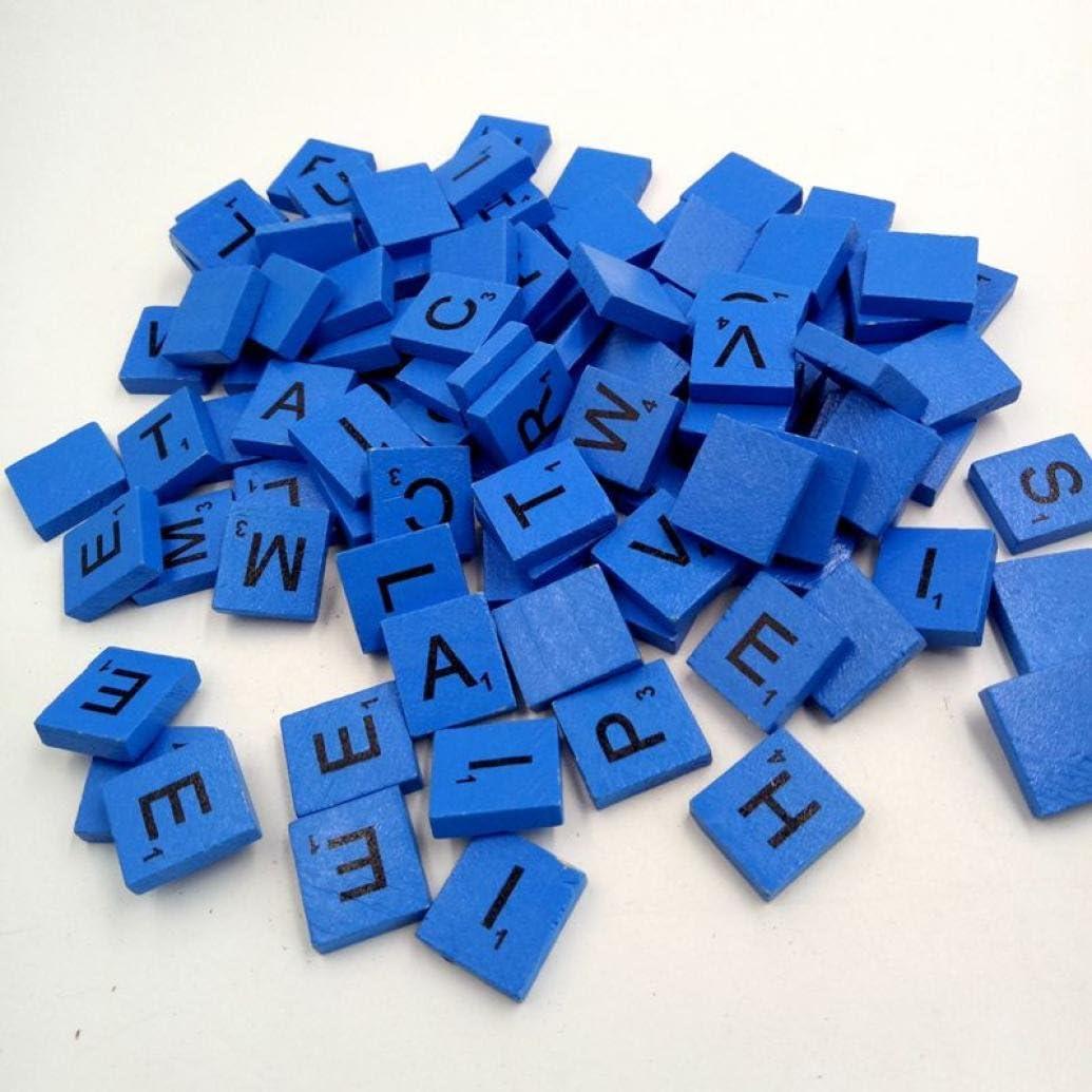 Madera letras del Scrabble Azulejos, kingwo 100 Scrabble Azulejos Negro Letras Números de madera para manualidades madera alfabeto ideal para manualidades, colgantes, ortografía by clever Delights azul: Amazon.es: Hogar