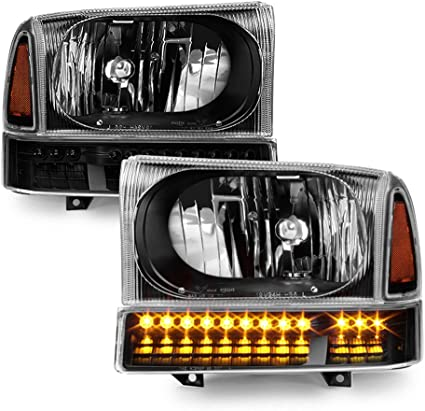 Ford 1999-2004 F250 F350 Super Duty 2000-2004 Excursion Black Clear Headlights