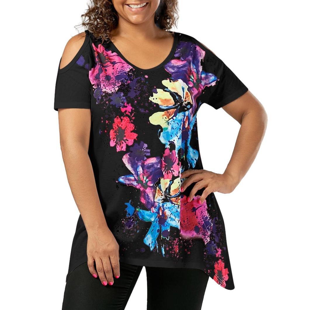 OHQ_Camisetas Verano para Mujer Tops De Tirantes De Manga Corta ImpresióN De Mariposa Tops De La ImpresióN Floral del Hombro FríO De La Manga Corta del TamañO Extra Grande De La Moda