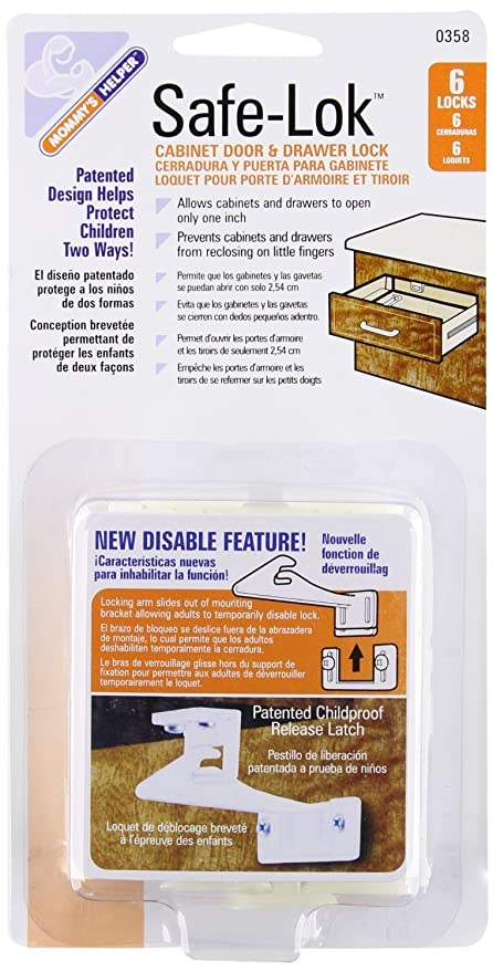 Mommys Helper Safe-Lok Cabinet Door and Drawer Lock with Disable Feature - 3 Packs