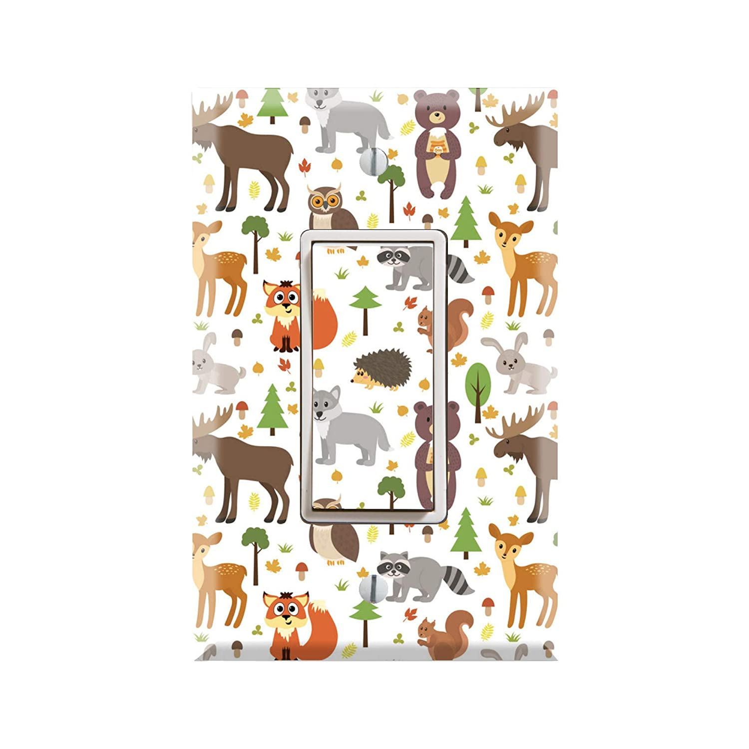 Amazon Com Forest Animals Light Switch Cover Animals Graphics Wallplate Outlet Cover Single Toggle Single Rocker Outlet Cover Gift For Animal Lover Animals Kids Room Animal Themed Kids Nursery Room Tf83 Handmade