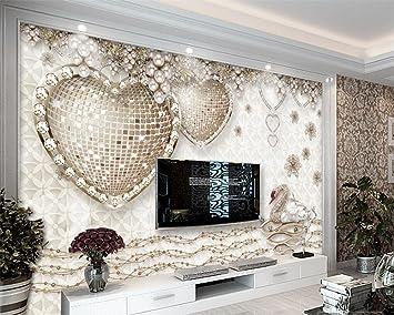 Shah D Fototapeten Romantische Stereo Herz Schmuck Wandbild Schlafzimmer Wohnzimmer Sofa Tv Wand Tapeten D Tapete