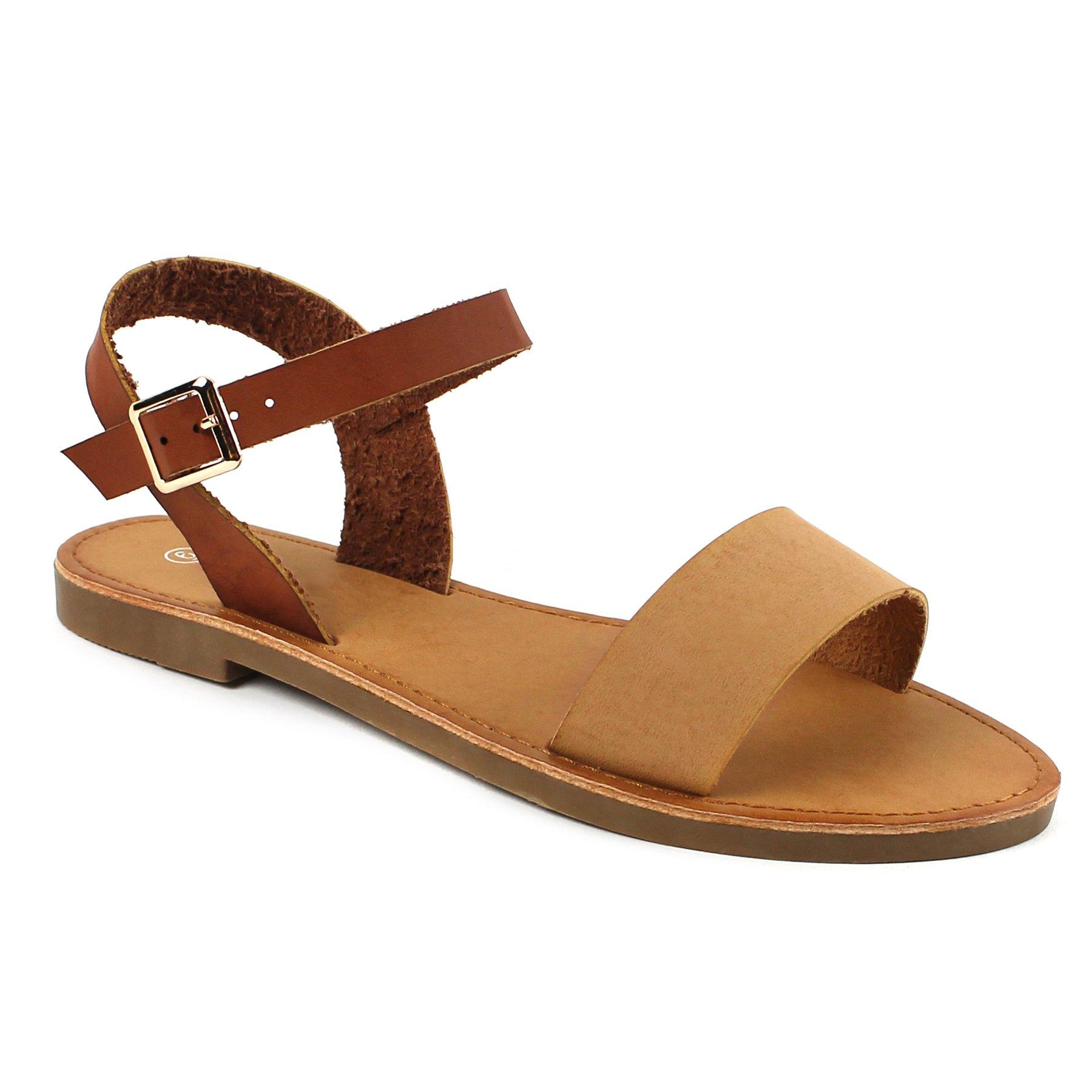 Women's Shoe Comfort Simple Basic Ankle Strap Flat Sandals (8, Tan/Cognac)