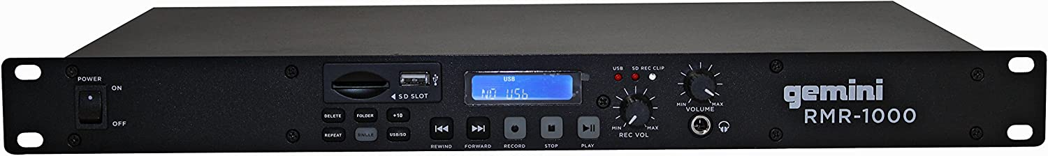 Gemini RMR-1000 Professional USB/SD Digital Player & Recorder Rack Mount For Home/DJ Performance/Club/Bar/Pub/Studio/Stage/Show/Entertainment