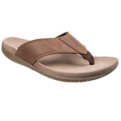 691e5a291e7b Hush Puppies Mens Mutt Toe Post Leather Sandals (11 US) (Tan)