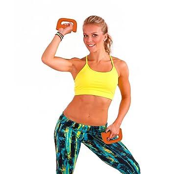 Vinilo cruce pesas pesos antideslizante agarre firme, diseño en D Fitness gimnasio ejercicio entrenamiento 1,5 kg/2,5 kg en color naranja y morado: ...