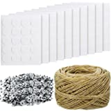 200 Feet Hemp Candle Wick, 200 Pieces Candle Metal Wick Sustainer Tabs and 100 Pieces Candle Wick Stickers, 12.5 mm Hot…