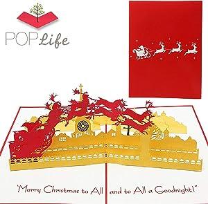 PopLife Santa & Sleigh Pop Up Christmas Card - Holiday Cards, Reindeer Sleigh