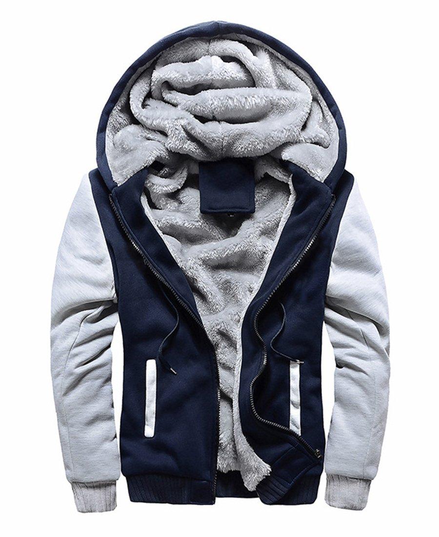 FOURSTEEDS Women Hooded Faux Fur Winter Coats Light Grey&Navy Blue US 12