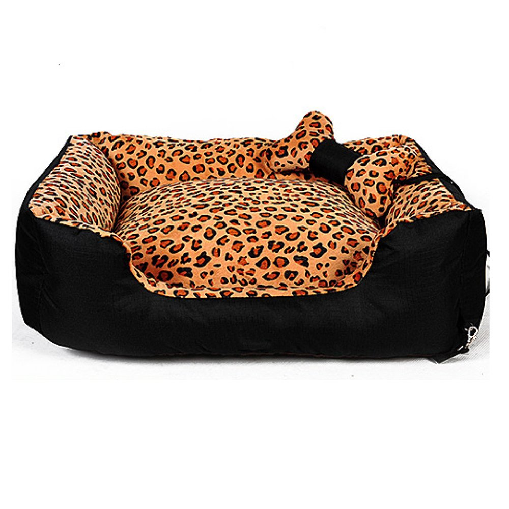 A L90W75H19cm 35307in A L90W75H19cm 35307in ANHPI Kennel Washable Large Winter Mid-sized Pet Dog Supplies Leopard Sleeping Pad,A-L90W75H19cm 35  30  7in