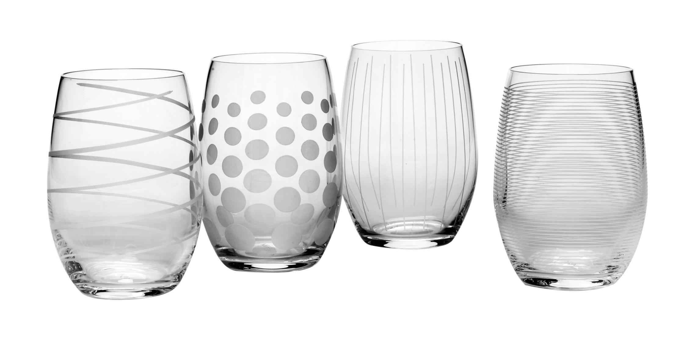 Mikasa Cheers Stemless Wine Glass, 17-Ounce, Set of 4 by Mikasa