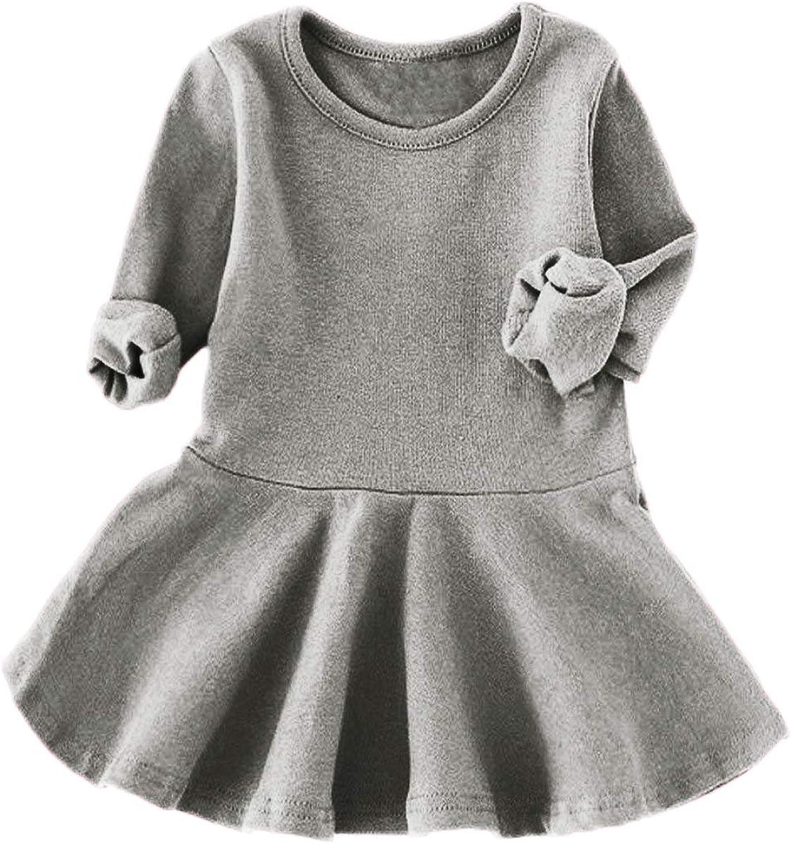 lymanchi Toddler Baby Girl Cotton Dress Long//Short Sleeve Ruffle Cozy Casual Top