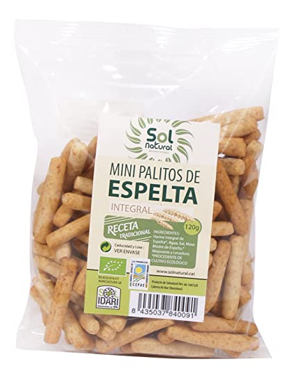 Sol Natural Mini Palitos de Espelta Integral - Paquete de 18 x 120 gr - Total