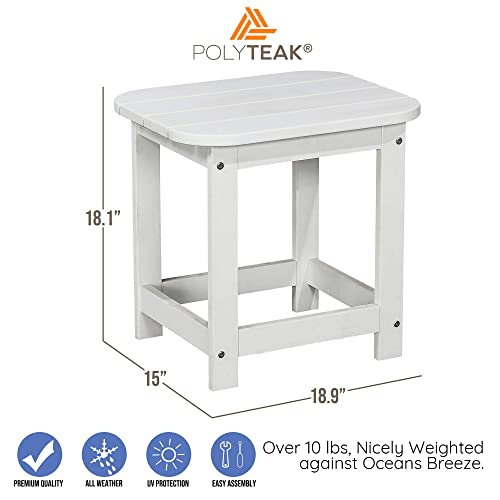 PolyTEAK Compact Outdoor Side Table, Powder White Weather Resistant, Patio Side Table for Small Spaces Outside Made from Special Formulated Poly Lumber Plastic