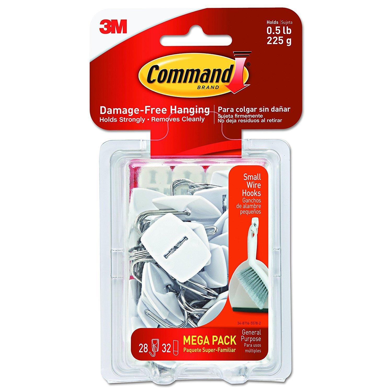 Command Wire Hooks Mega Pack NC38, Small, White, 56-Hooks (17067-MPES)