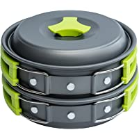 MalloMe Camping Cookware Mess Kit Gear – Camp Accessories Equipment Pots and Pans Set…