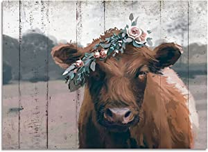 Vintage Farmhouse Cow Wall Decor, Retro Picture Art, Rustic Canvas Print Painting for Home Decorative (Brown, 12x16inch)