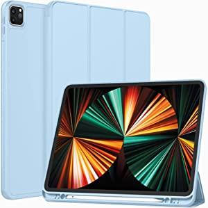 ToaPoia Case for iPad Pro 12.9 Case 5th Generation 2021 with Pencil Holder, Premium Protective Case Cover with Soft TPU Back and Auto Sleep/Wake Feature for 2021 iPad Pro 12.9 (Sky Blue)