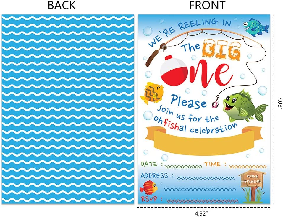 WERNNSAI Gone Fishing Invitation with Envelopes Little Fisherman 1st Birthday Party Supplies for Kids Swim Pool Beach Summer The Big One Birthday Party Invitations 20 Sets