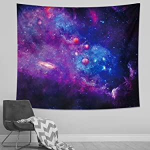 DESIHOM Galaxy Tapestry Space Tapestry Starry Sky Tapestry Universe Tapestry Purple Nebula Tapestry Wall Tapestry for Bedroom Living Room Dorm Decor 59x51 Inch