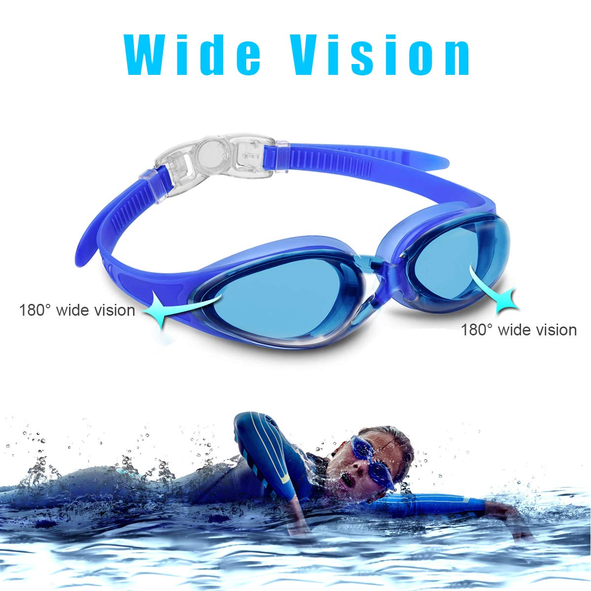 Letsfit Swimming Goggles, No Leaking Anti-Fog Indoor Outdoor Swim Goggles with UV Protection Mirrored Clear Lenses for Adult Women Men Youth Kids