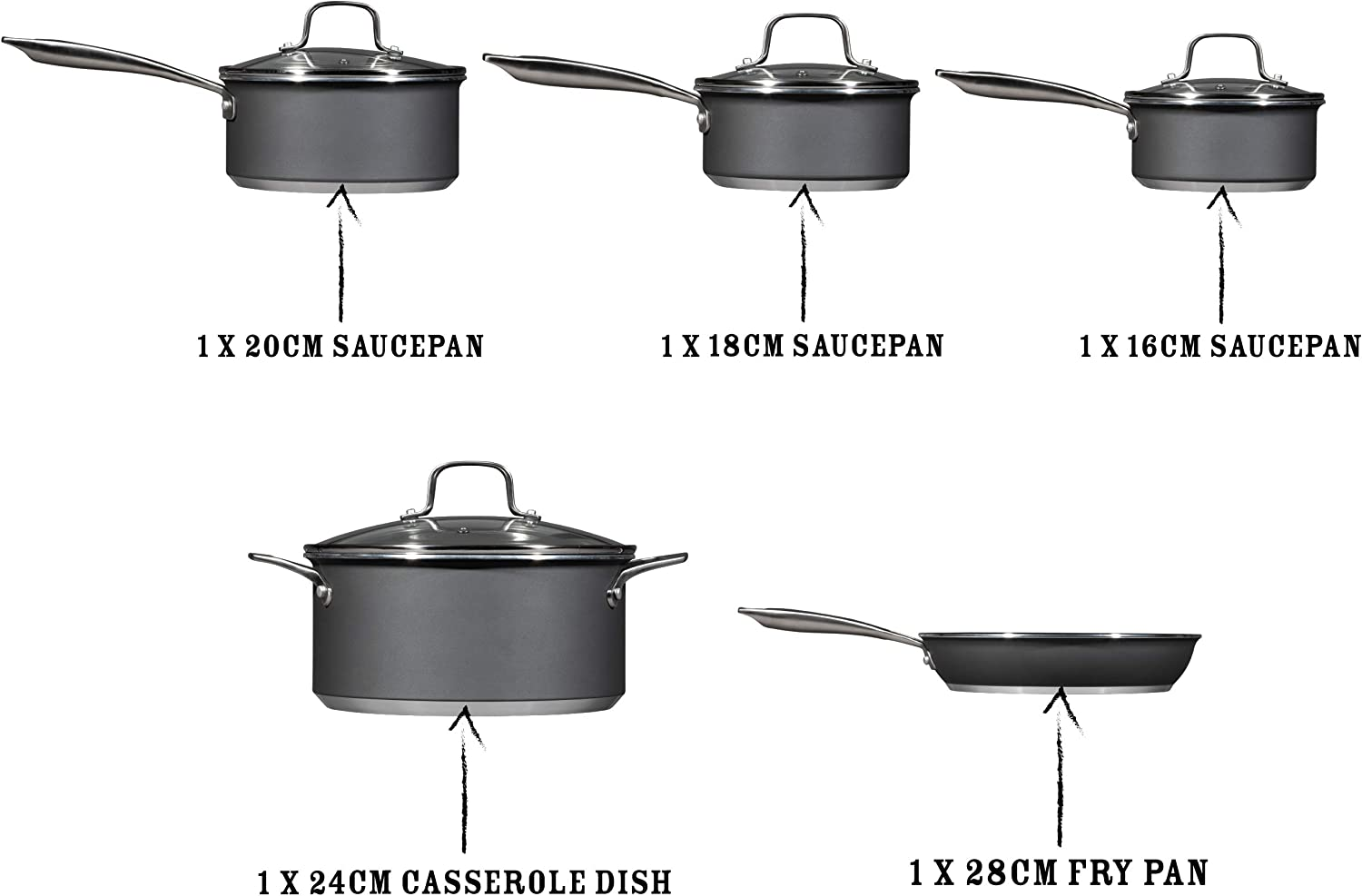 28CM 24CM  SILVER Extra Deep Large PRO Frying Pan NON STICK INDUCTION MIGHTY PAN