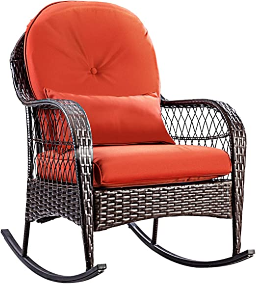 Adjustable Reclining Chair,Porch Deck Wicker Rocking Chair,1 Chair /&1 Tea Table