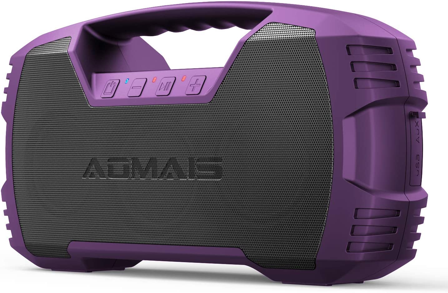 AOMAIS GO Bluetooth Speakers, 40H Playtime Outdoor Portable Speaker, 40W Stereo Sound Rich Bass, IPX7 Waterproof Bluetooth 5.0 Wireless Pairing,10000mAh Power Bank, for Party, Travel-Purple[2020 New]