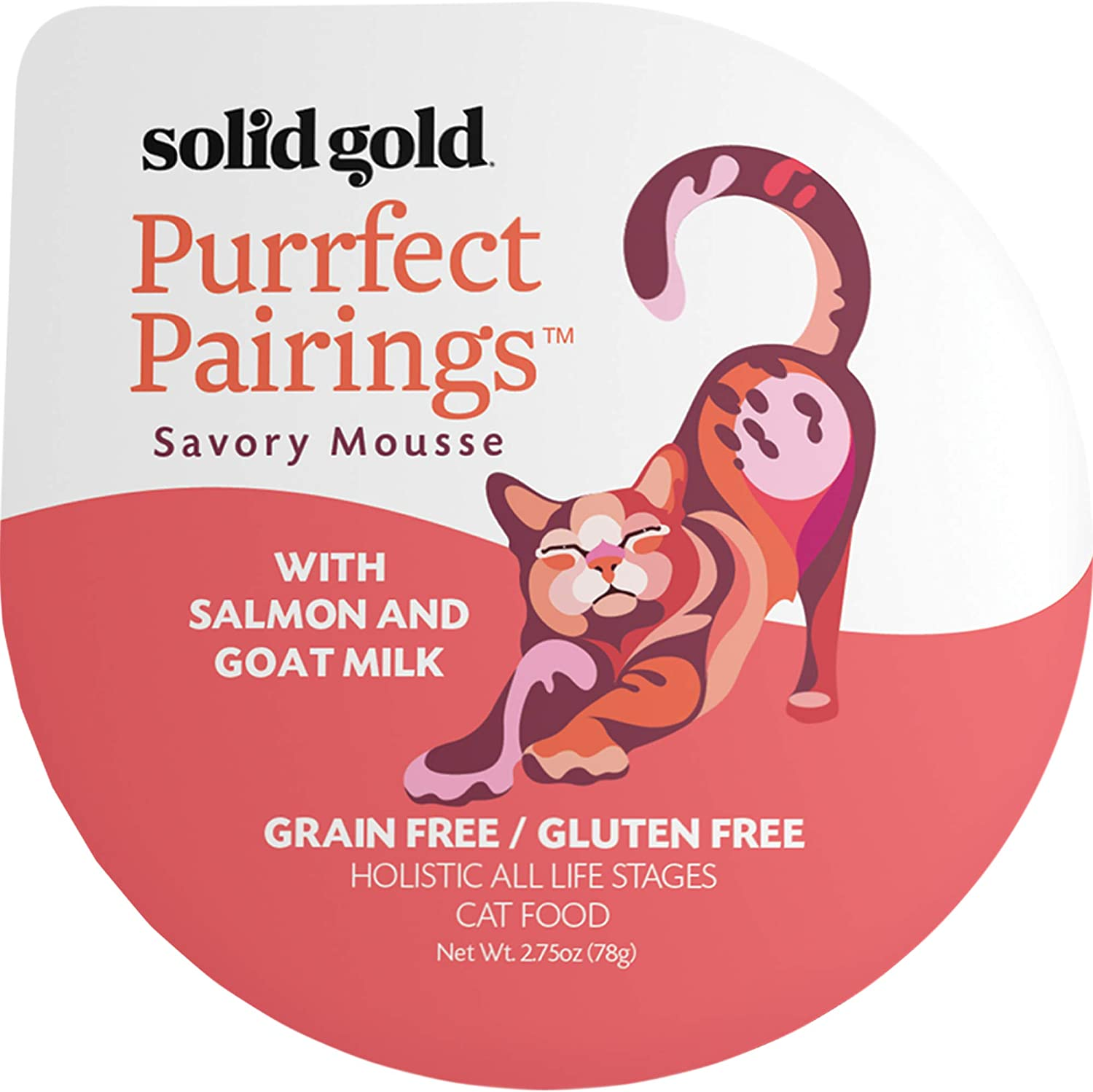 Solid Gold Goat Milk Mousse Pate Wet Cat Food; Purrfect Pairings With Salmon, 18Ct/2.75Oz Cup