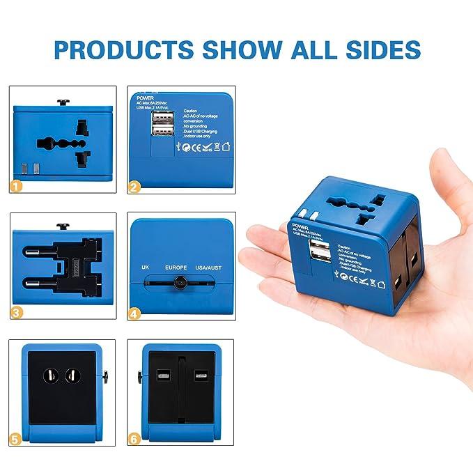 Adaptador de Viaje, Cargador de Pared con Doble Puerto de Carga USB y convertidor de enchufes Universal Valido para USA, EU, UK, AUS, móviles y portátiles ...