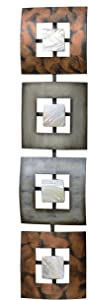 WHW Whole House Worlds Modernist Floating Squares, Rectangle Metal Wall Art, Artisan Crafted, Polished Shell Insets, Painted Iron, Over 2 Ft Long, Abstract Geometric Plaque