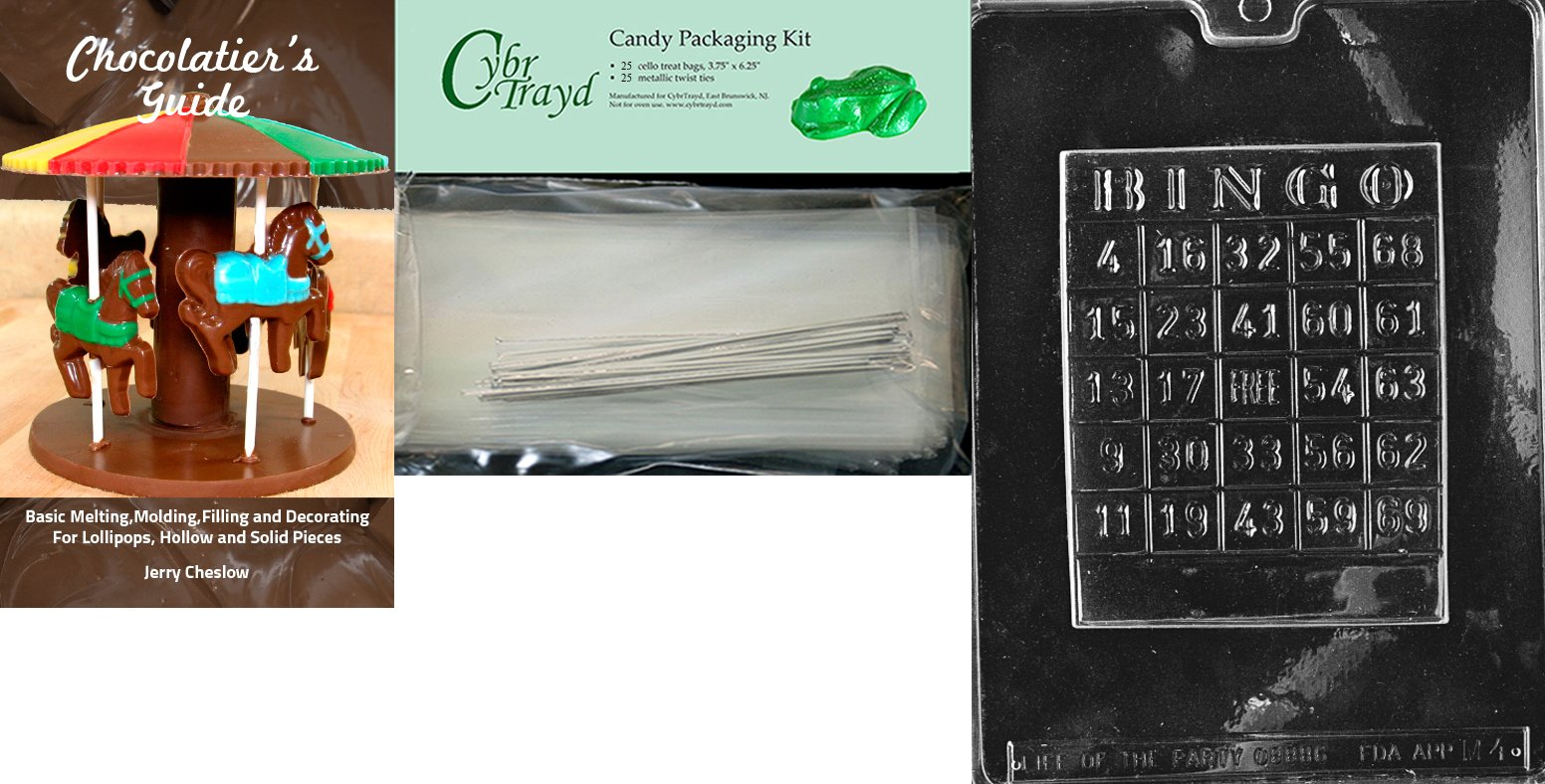 Cybrtrayd ''Bingo Card'' Miscellaneous Chocolate Mold with Chocolatier's Bundle, Includes 25 Cello Bags and 25 Silver Twist Ties by CybrTrayd