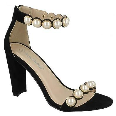 54ffdd9a4f0c Anne Michelle Womens Ladies Pearl Trim Mule Sandals  Amazon.co.uk ...