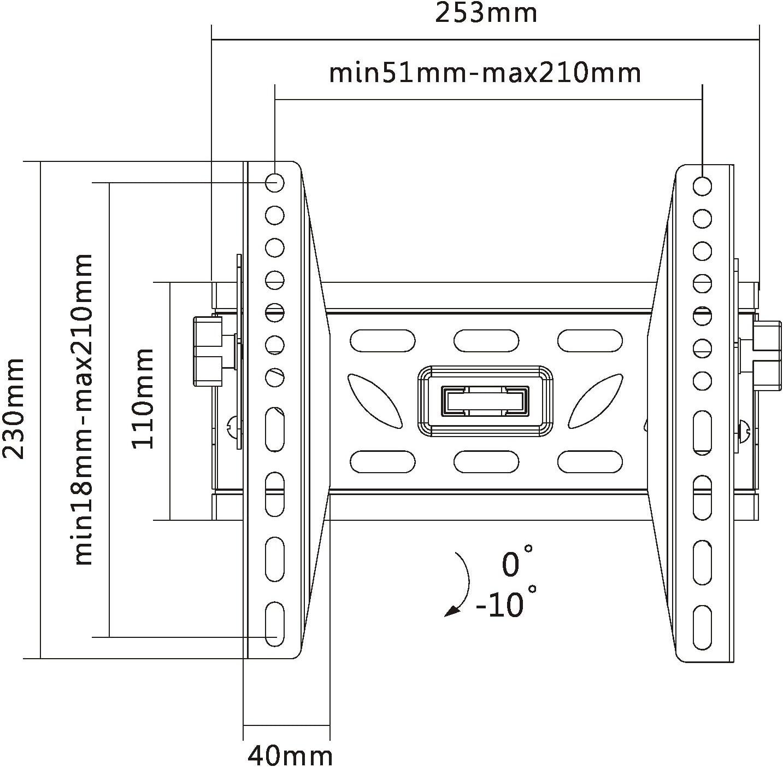 Soporte Intecbrackets de pared resistente, de color blanco, ajustable e inclinable para televisor compatible con pantallas 19, 20, 22, 23, 24, 26, 27, 28, 29, 30, 32, 34, 36, 37, 39, 40 pulgadas: Amazon.es: Electrónica