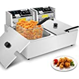 Hopekings Commercial Deep Fryer with Baskets & Lids, 12.7QT Electric Deep Fryer with Temperature Control, Stainless Steel, Do