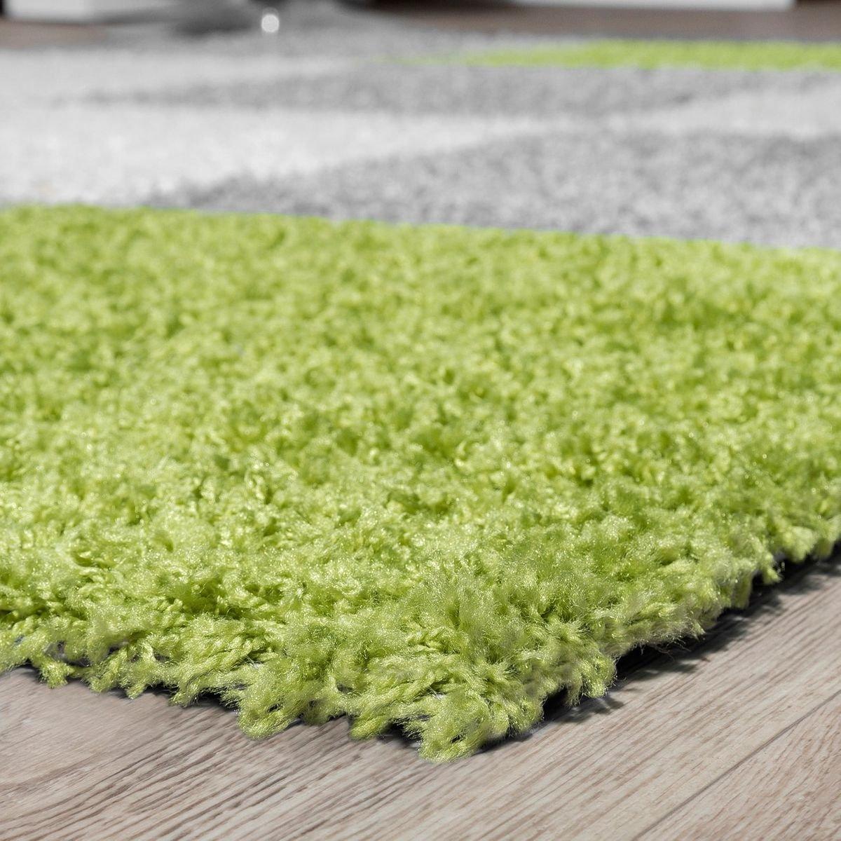 T&T Design Moderner Hochflor Hochflor Hochflor Teppich Karo Muster Shaggy Zottel Teppiche Grau Weiß Grün, Größe 200x280 cm B076FCT77H Teppiche 0a3f75