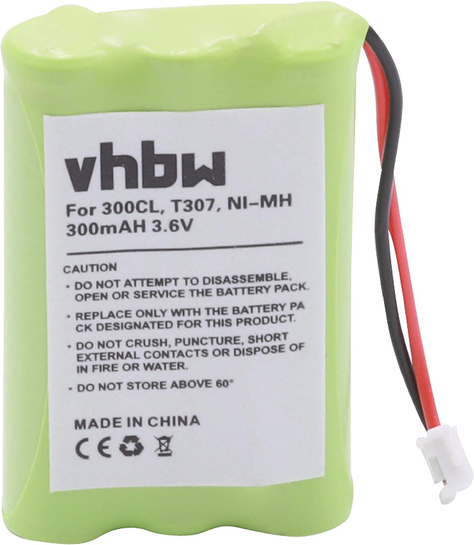 vhbw NiMH batería 300mAh (3.6V) para teléfono Fijo inalámbrico Sagem Phonefax 2625 por GP 30AAAAH3BMX, T307.