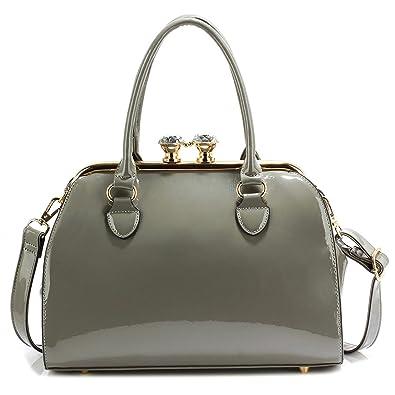 Xardi London Grey New Medium Diamante Clasp Women Handbags Patent Faux  Leather Ladies Shoulder Bag f31b17d30dace