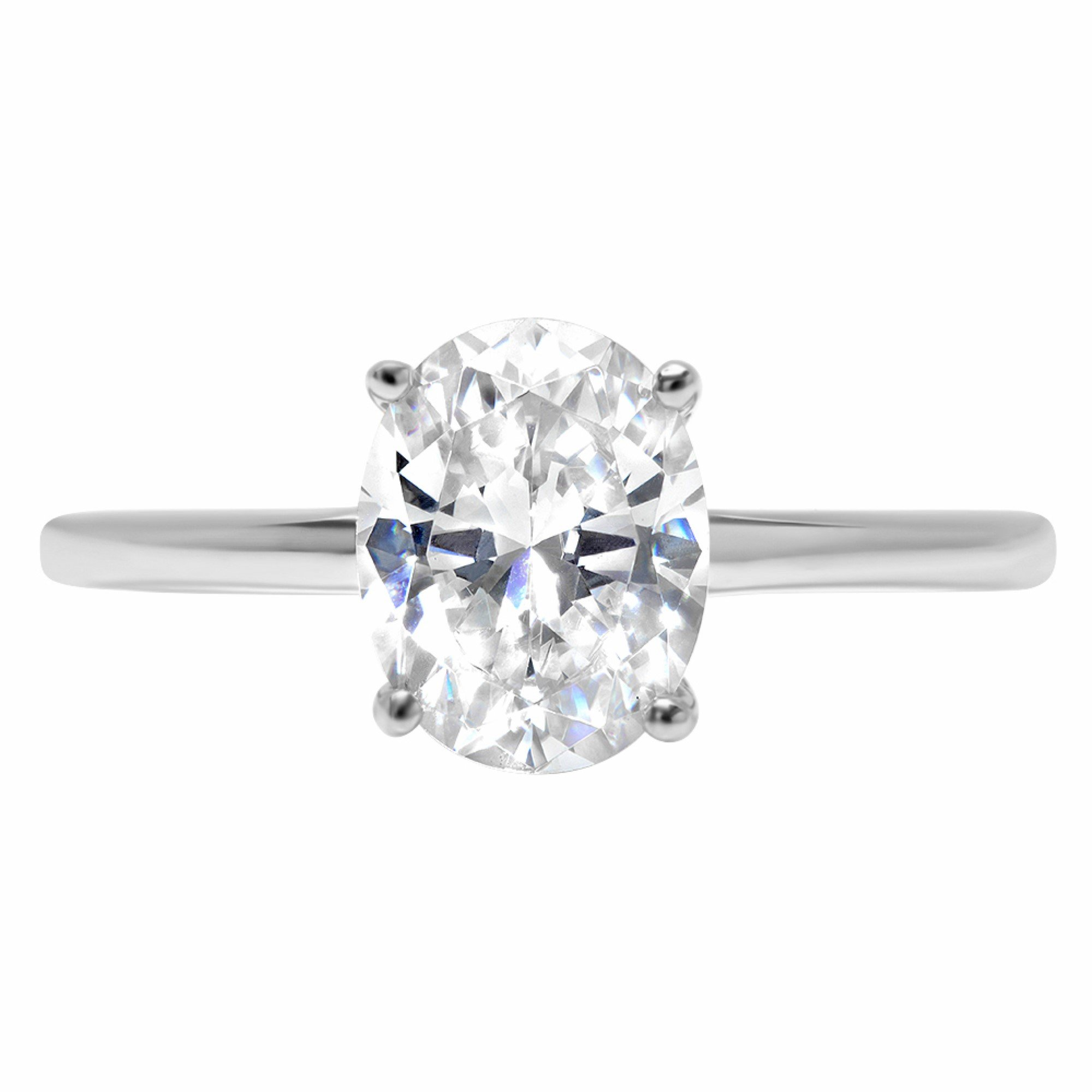 14k White Gold 1.8ct Oval Brilliant Cut Classic Solitaire Designer Wedding Bridal Statement Anniversary Engagement Promise Ring Solid, 8.5, 8.5