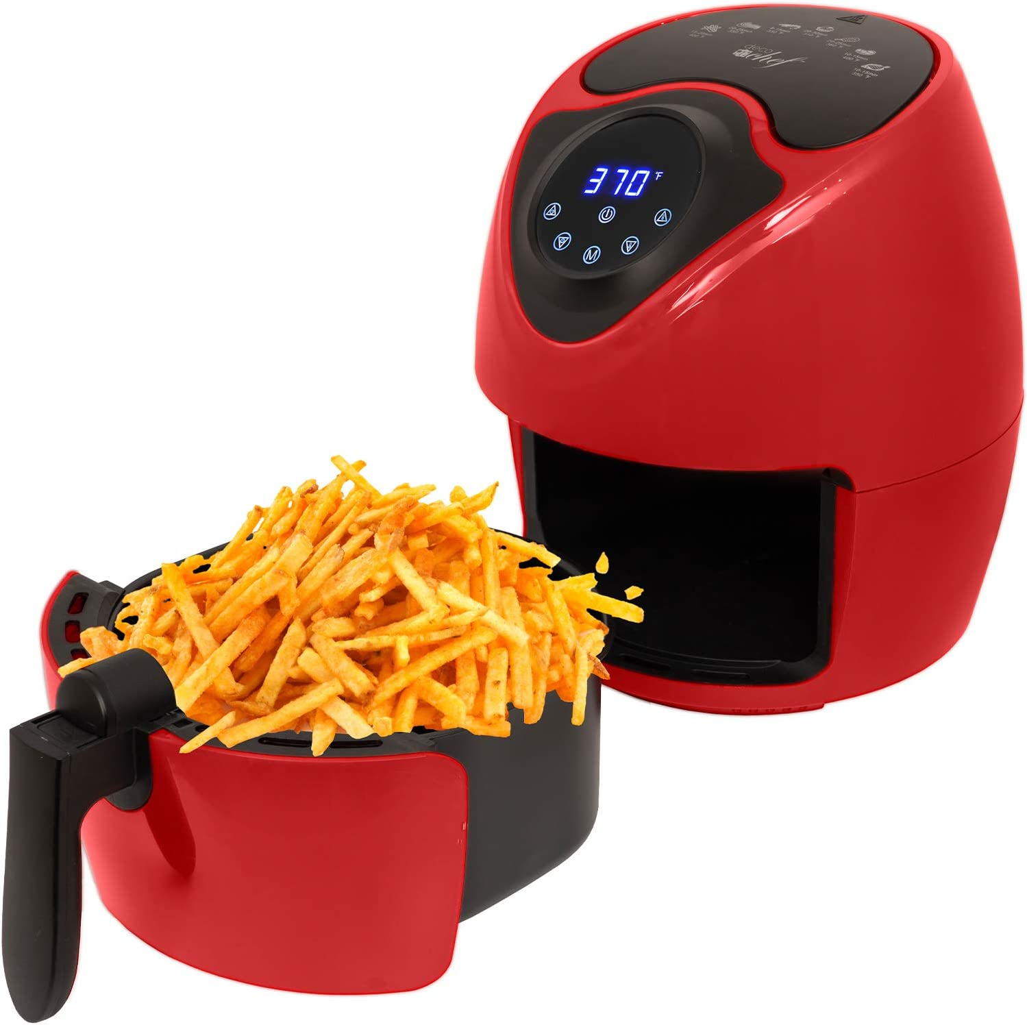 Deco Chef XL 3.7 QT Digital Air Fryer Cooker With 7 Smart Programs, Preheat & Shake Remind, LED Touch Screen Oil-Less Non-Stick Coated Basket, Timer Counter Top, Healthy Kitchen Safe Frying Station with Cookbook (Red)