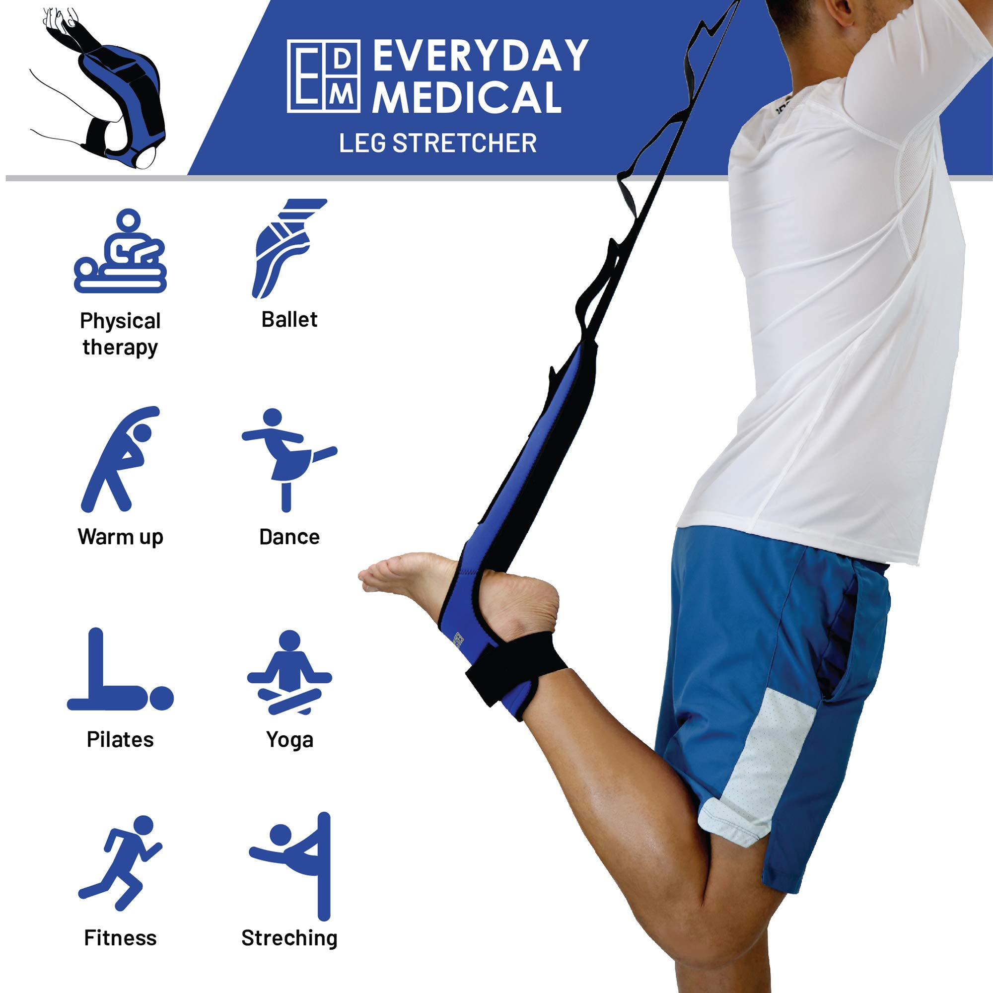 Plantar Fasciitis Foot Stretching Strap - Leg and Foot Stretcher - Stretch Your Heel, Calf and Arch - Improve Strength, Balance, Flexibility, Prevent Injuries - Great for Yoga by Everyday Medical