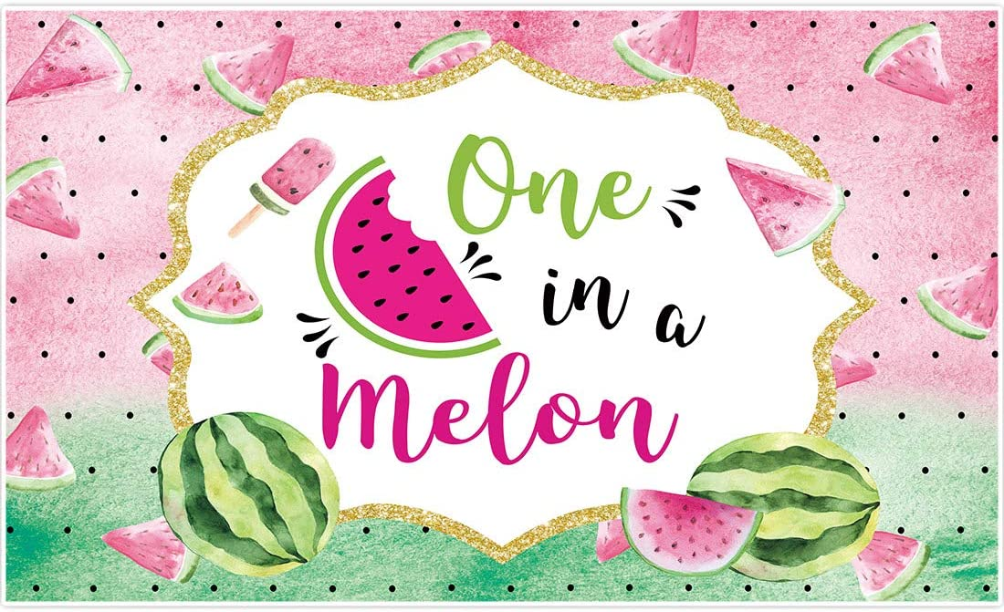 Allenjoy 5x3ft Watermelon Theme Summer Fruit Backdrop Supplies for Newborn Kids 1st Birthday Party One in a Melon Photography Background Customizable Children Cake Smash Studio Photoshoot Props Favors