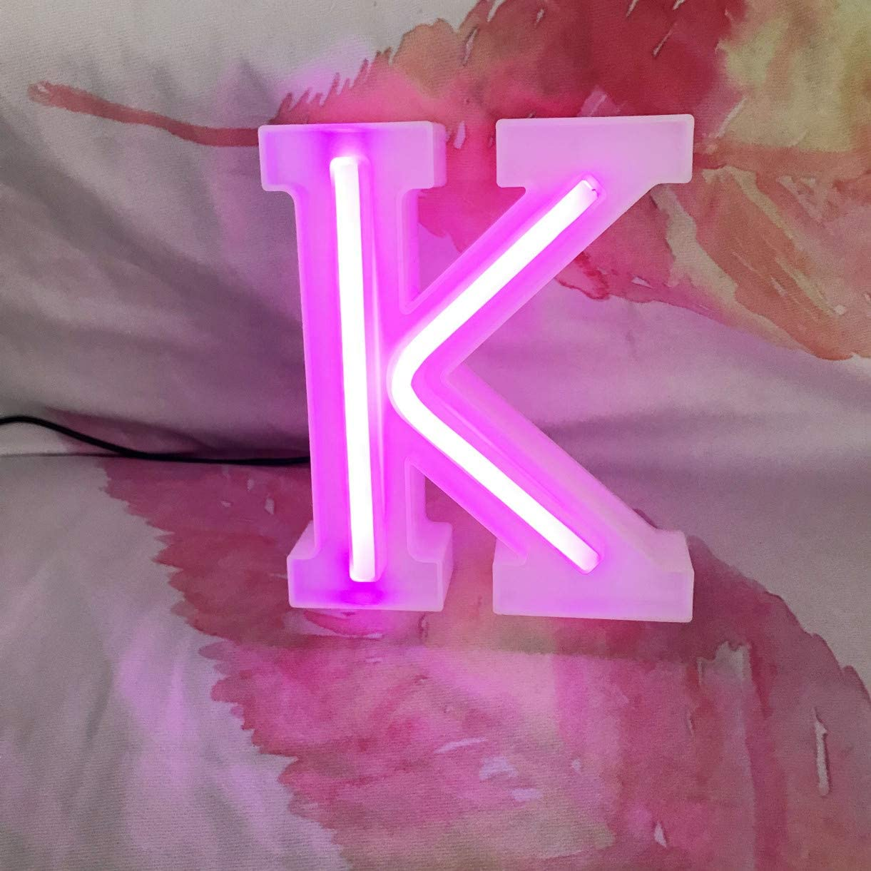 QiaoFei Light Up Marquee Letters Lights Letters Neon Signs, Pink Wall Decor/Table Decor for Home Bar Christmas, Birthday Party, Valentine's Day Words-Pink Letters (K)